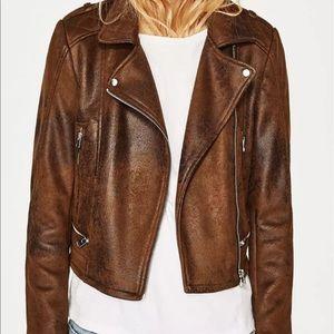 ZARA Leather Effect Brown Moto Jacket  4341/003